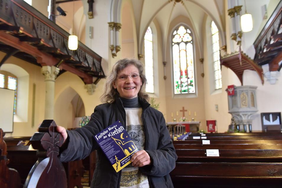 Brünhild Prodix, Kirchenvorsteherin der Kirchgemeinde Freital, lädt am 5. Juni mit vielen Mitstreitern zur Nacht der Kirchen ein.
