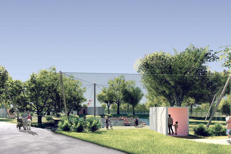So soll die neue begehbare Flamingo-Anlage im Zoo aussehen.