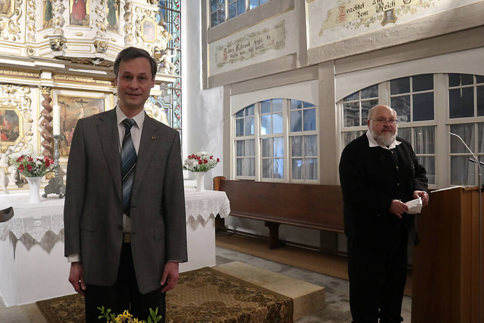 Christian Huth (li.) wird am 1. September neuer Pfarrer für den Evangelischen Pfarrsprengel Oberlausitzer Seenland mit den Kirchengemeinden Lohsa, Uhyst Spree und Groß Särchen.