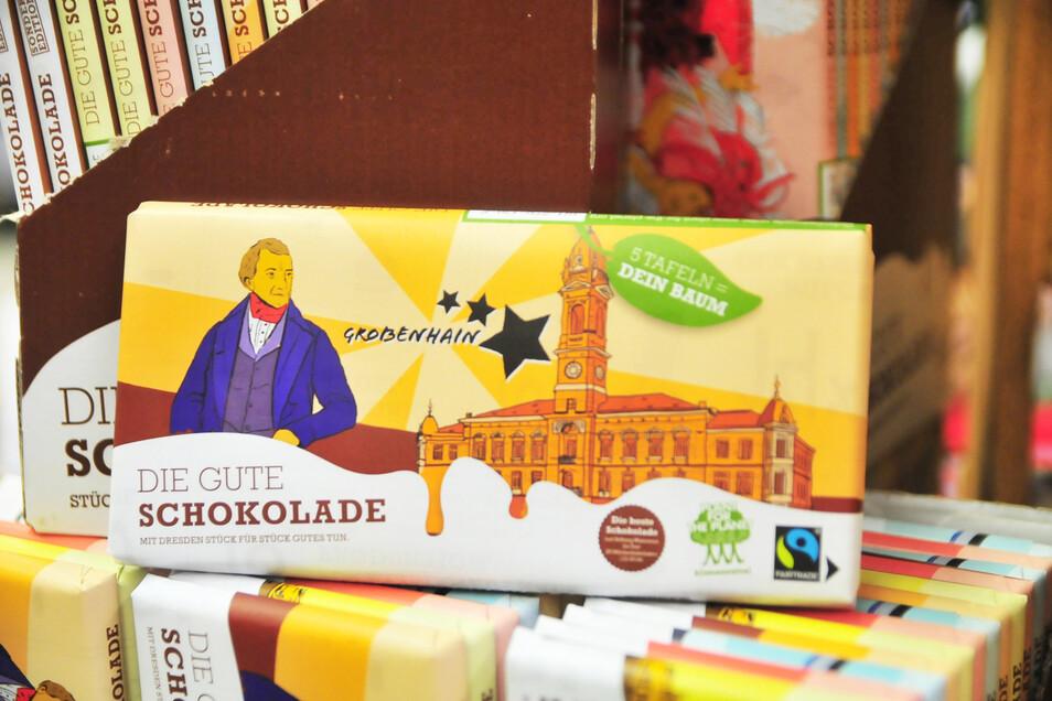 Großenhain-Schokolade gibt es seit Juni 2020 bei Edeka Scheller auf dem Kupferberg.