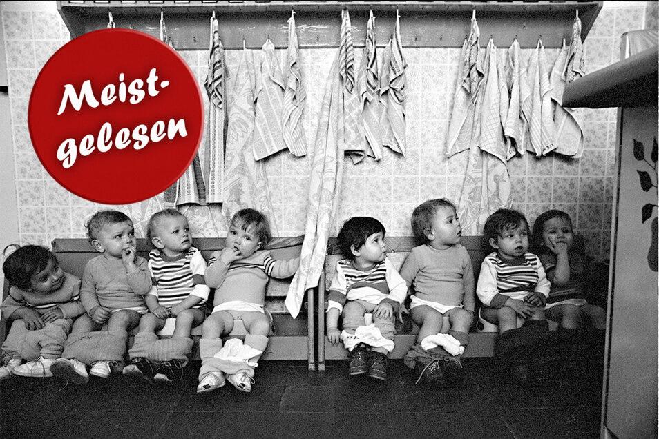 """Diese Kinder der Kinderkrippe """"Katja Niederkirchner"""" in Cottbus sind heute alle über 40 Jahre alt. Ob ihnen die Erziehung nach strengem Zeitplan geschadet hat?"""