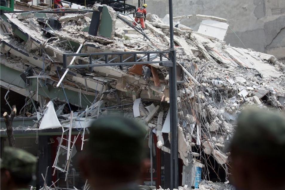 Eines der Gebäude, die beim Beben am Dienstag komplett zerstört wurden.