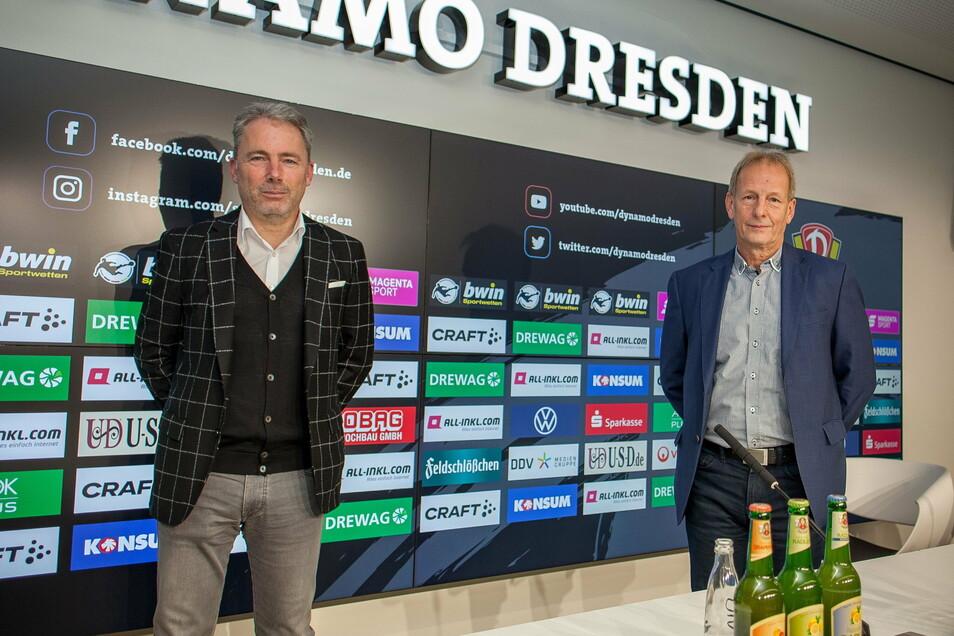 Jürgen Wehlend (l.) wird als neuer kaufmännischer Geschäftsführer bei Dynamo Dresden vorgestellt. Aufsichtsratschef Jens Heinig spricht vom Beginn einer neuen Ära.