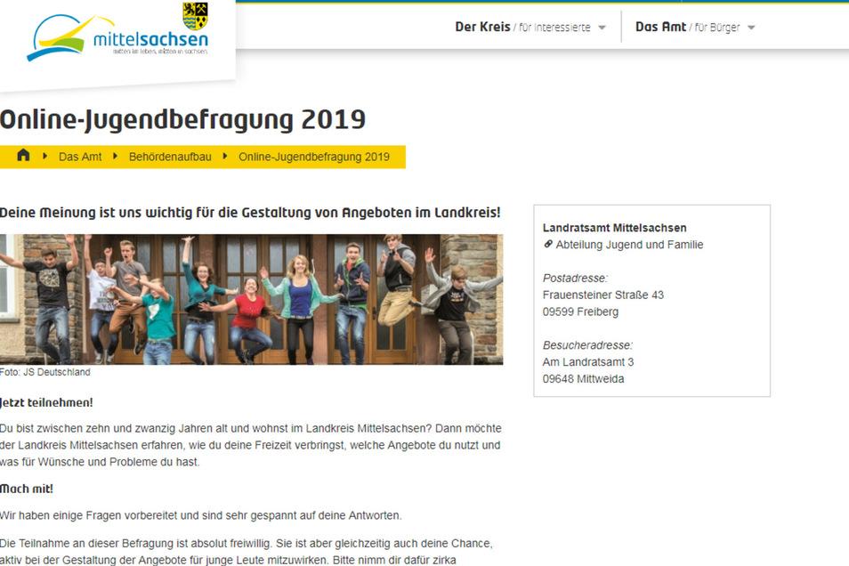 Die Internetseite des Landratsamtes zur Jugendbefragung.