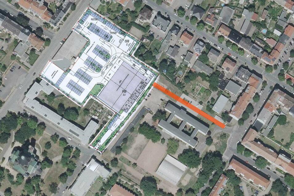 Die orangefarbene Linie zeigt den ungefähren Verlauf des Weges, der an der Trinitatisschule vorbei zum Edeka-Gelände (links) führt. Die dort grau eingezeichnete große Fläche markiert den geplanten Standort des eigentlichen Marktes.