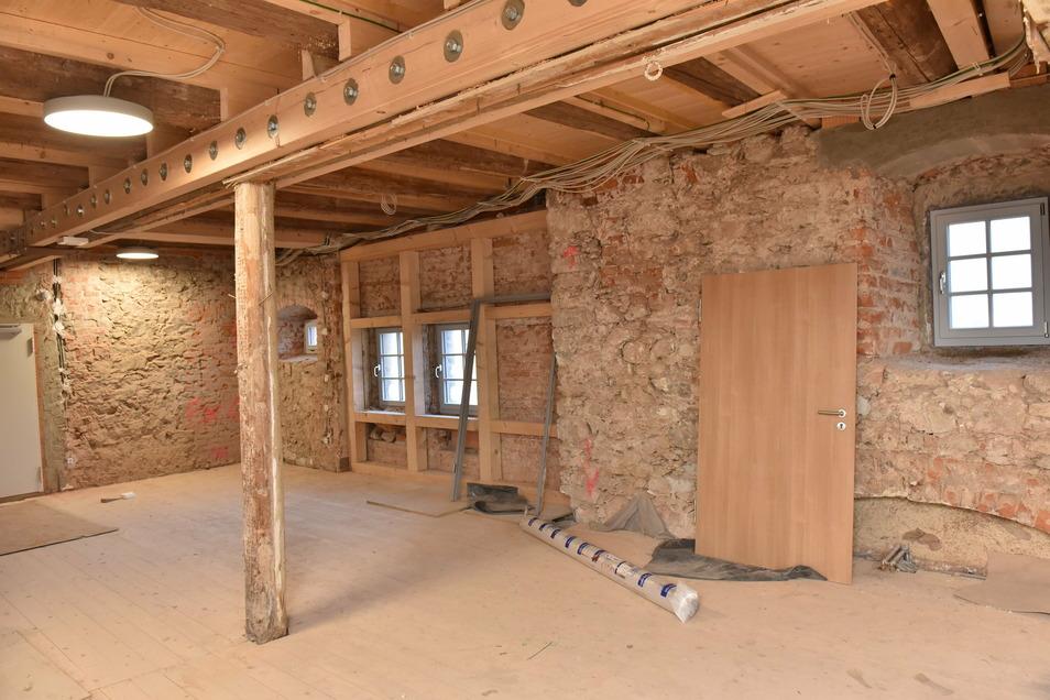 Dieser Raum gehört zum Spielboden. Für die Fertigstellung fehlte Altenberg das Geld.