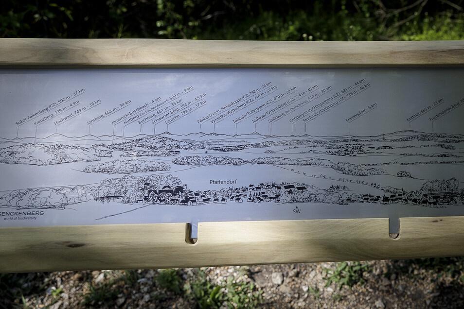 Die neue Tafel zeigt Dörfer, Berge, Wälder und selbst Windräder sehr detailliert. Die Ostritzer Grafikwerkstatt DS-Werbung hat das so exakt angefertigt.