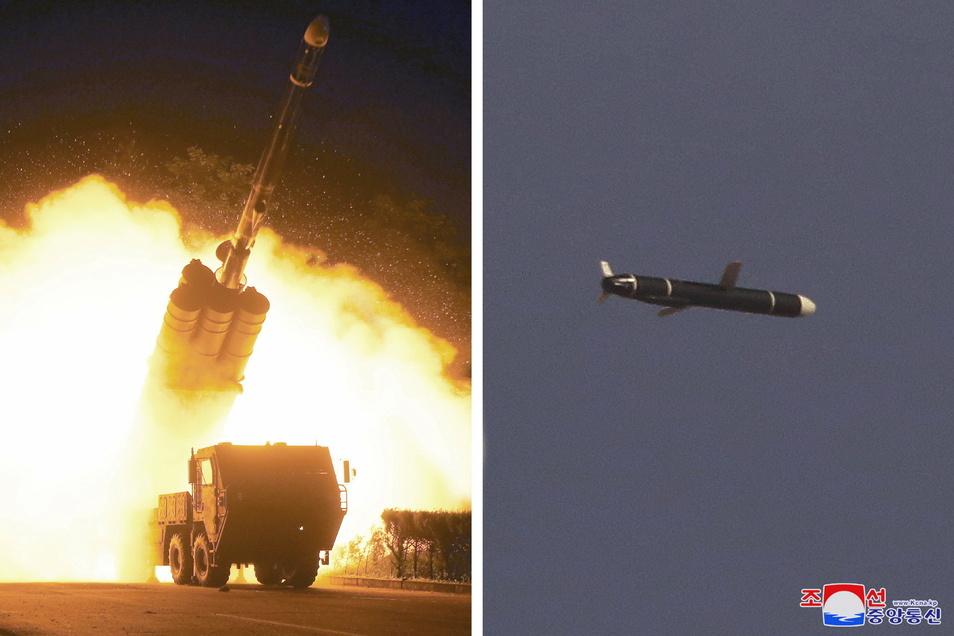 Die selbst erklärte Atommacht Nordkorea hat am Wochenende neue Marschflugkörper mit großer Reichweite getestet.