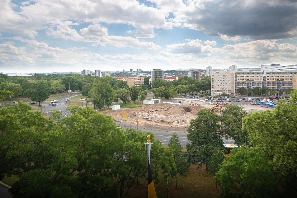 Die Baugrube für das neue Verwaltungszentrum.