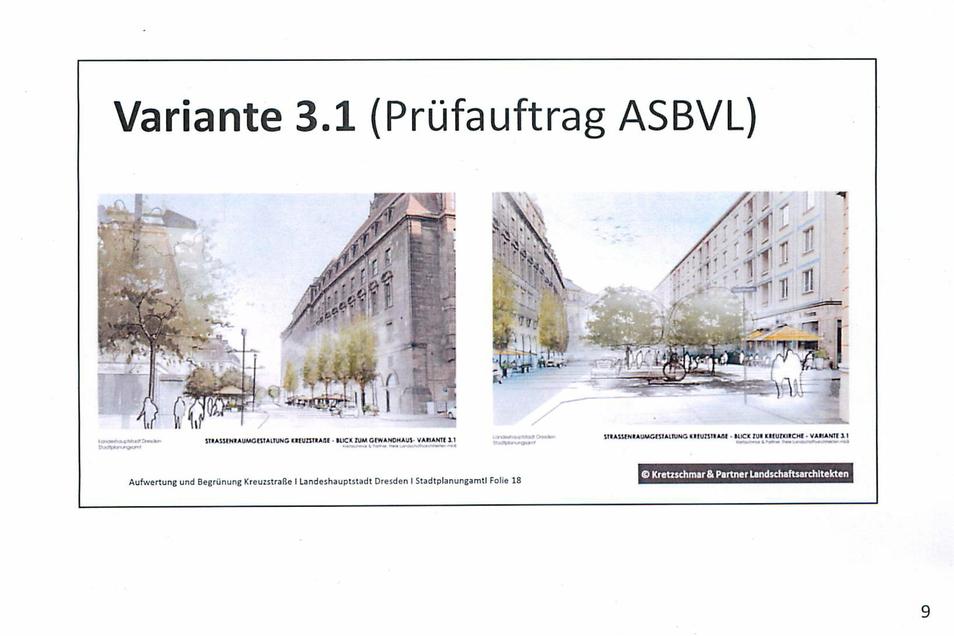 So soll die Kreuzstraße mit Bäume aussehen. Auf der Restaurantseite ist eine zweireihige Bepflanzung geplant, gegenüber am Rathaus solle es Bäume mit schmalen Kronen werden.