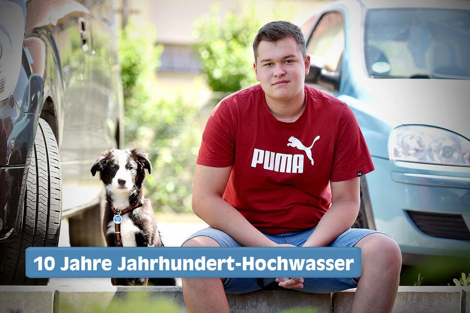 Die Schulzeit von Jasper Krenzien - und seinem Bruder Jesse (nicht im Bild) - säumen zwei Krisen: Hochwasser und Corona. Hund Boomer sieht's gelassen.