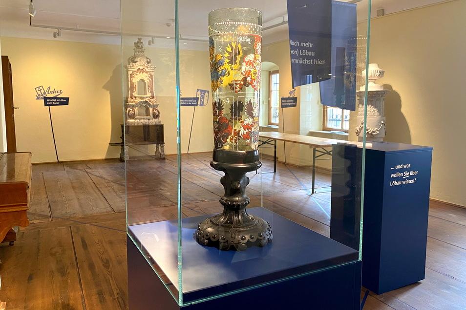Der wertvolle Sechsstädtebund-Pokal steht in dem Raum, der noch nicht fertig ausgestaltet werden konnte.