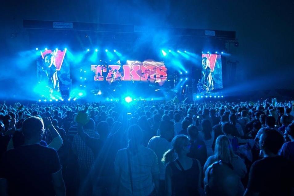 Blick auf die Bühne beim Auftritt von David Guetta.