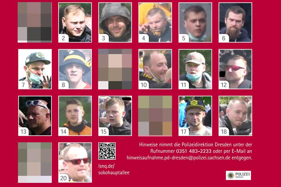 Nach den Krawallen rund um den Aufstieg von Dynamo Dresden sucht die Polizei jetzt nach diesen Tatverdächtigen. Die Identitäten der Gesuchten bei verpixelten Abbildungen sind bereits bekannt.