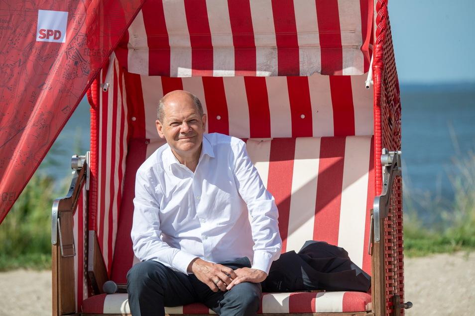 Olaf Scholz, Kanzlerkandidat und Spitzenkandidat der SPD, bei einer Wahlkampf-Veranstaltung in Ueckermünde.