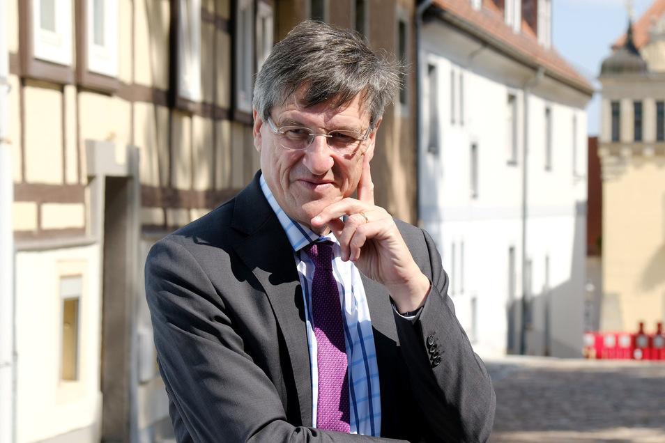 Der Chef der Naumann-Stiftung Karl- Heinz Paqué in Lommatzsch.
