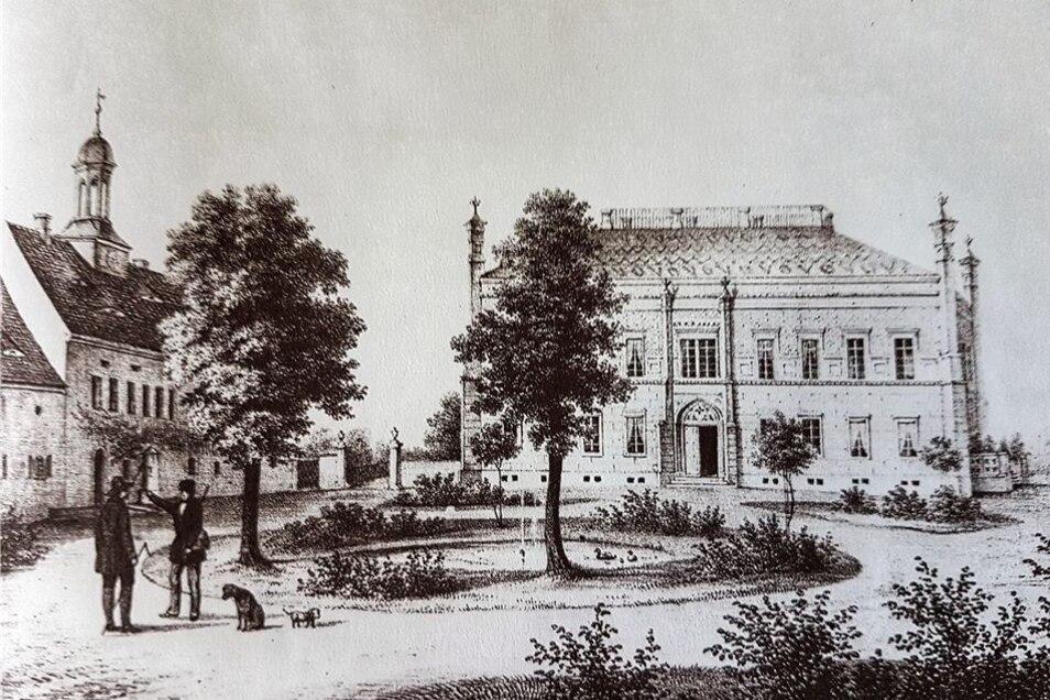 Schloss Schwepnitz im neugotischen Stil in der zweiten Hälfte des 19. Jahrhunderts.