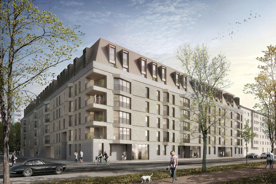 So soll der neue Wohnkomplex am Käthe-Kollwitz-Ufer aussehen. Er schließt sich direkt an das Gebäude der Seniorenresidenz an.
