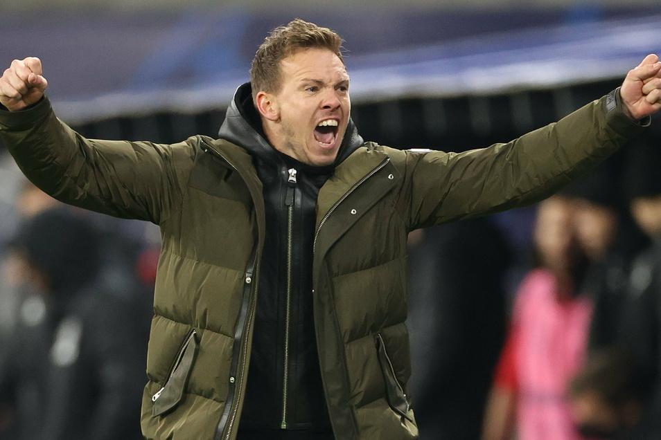 Leipzigs Trainer Julian Nagelsmann jubelt nach dem Sieg.