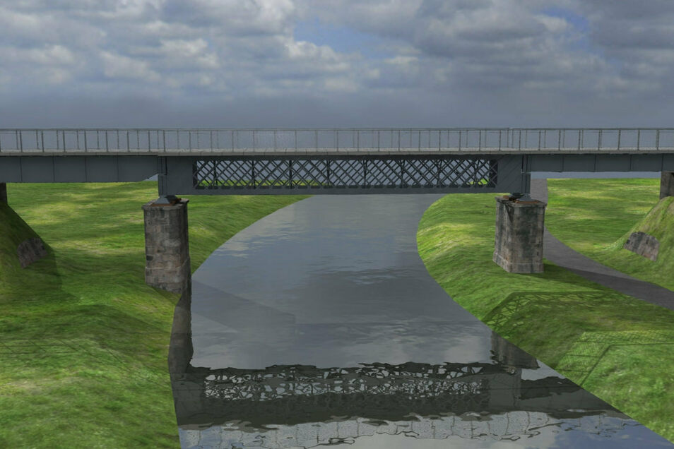 Die denkmalgeschützte Klimperbrücke über die Spree ist das aufwendigste und kostenintensivste Vorhaben bei dem geplanten Lückenschluss. Sie muss vermutlich angehoben und statisch ertüchtig werden. Anders als auf der Darstellung müssen nicht alle alten Eic
