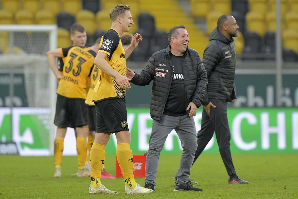 Bei Dynamos 3:0-Sieg gegen Meppen vor zwei Wochen gab Marco Hartmann (Mitte) in der Nachspielzeit sein Comeback, jetzt ist er für Trainer Markus Kauczinski eine Alternative.