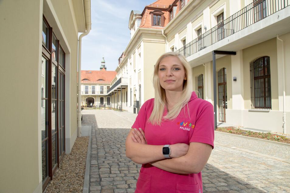 Sophie Kienöl ist verantwortliche Intensivpflegekraft bei advita in der alten Post am Görlitzer Bahnhof.