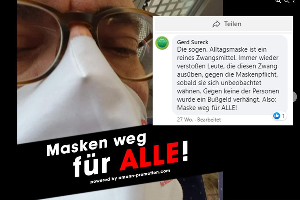 Auf Facebook fordert der Rechtsberater der Studierenden edie Abschaffung der Maskenpflicht.