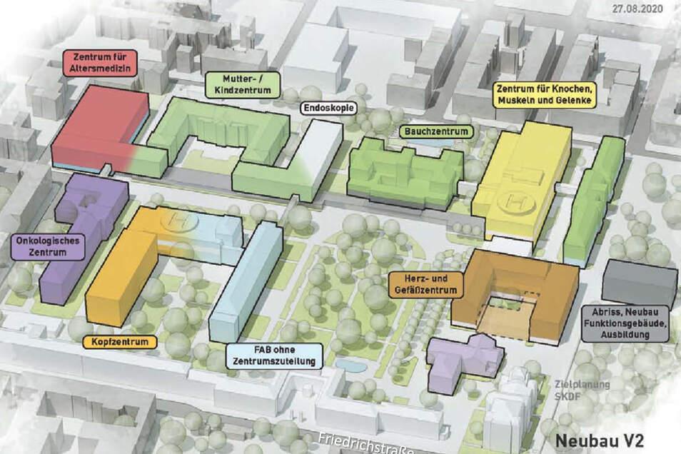 Mit diesen Gebäuden und Zentren plant die Stadt das Friedrichstädter Krankenhaus bis 2035 auszustatten.