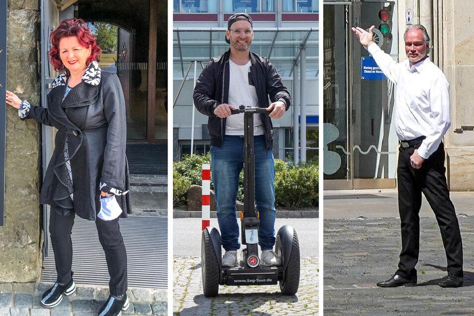 Die Dresdner Promis lernten ihre Stadt neu kennen: Viola Klein, Marc Huster, André Sarrasani.