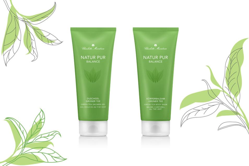 Das neue starke Doppel für natürlich schön gepflegte Haut von Kopf bis Fuß: Das Duschgel und der Körperbalsam aus der NATRUE-zertifizierten NATUR PUR-Serie.