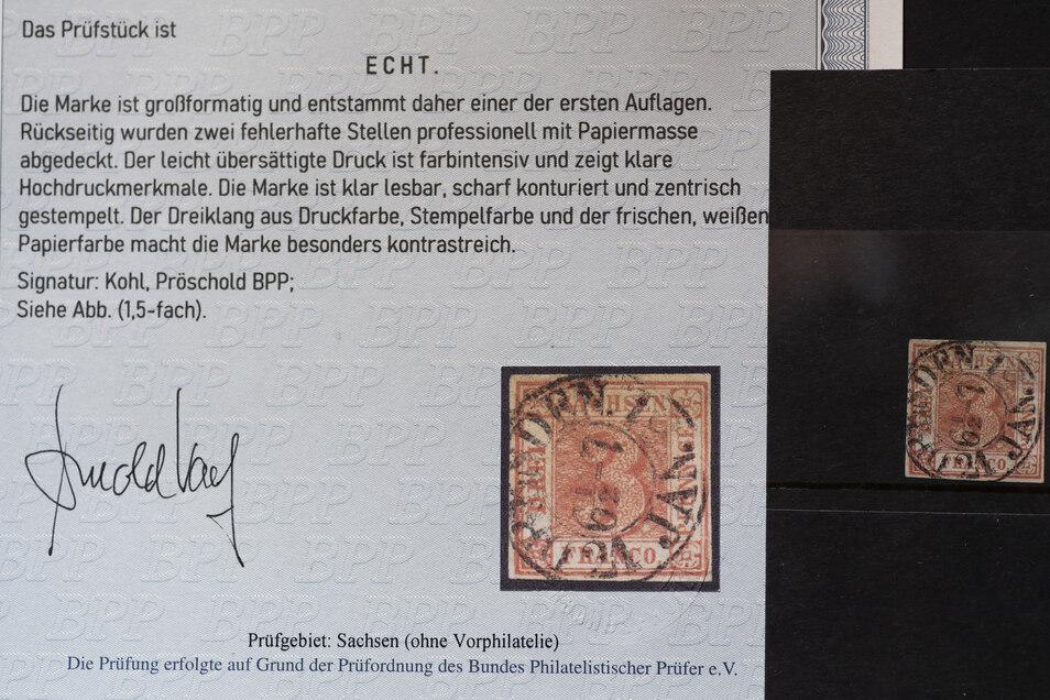 Eine echte Sachsendreier-Briefmarke und das zugehörige Attest.