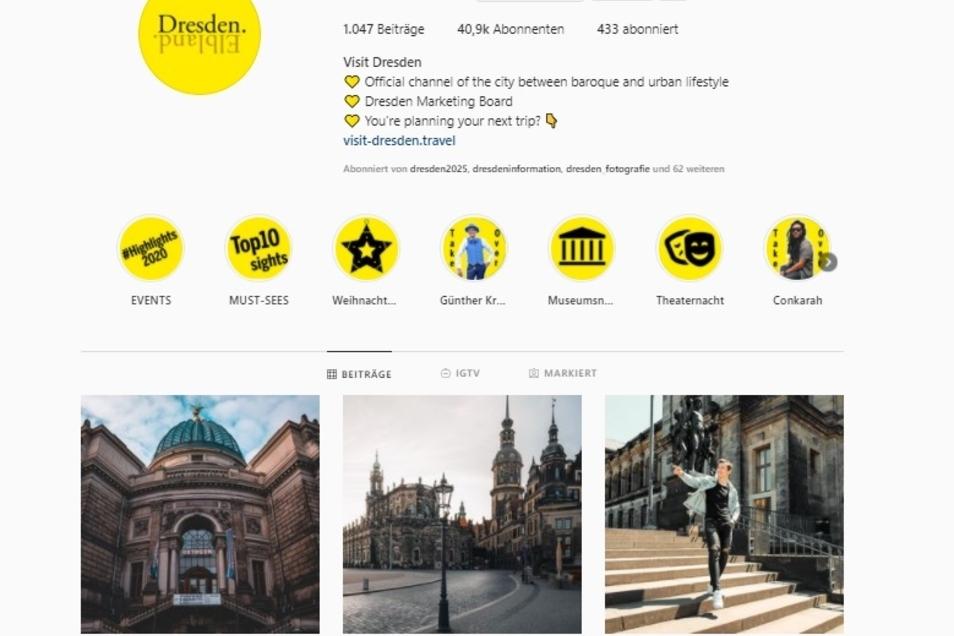 Dem offiziellen Instagram-Kanal der Stadt Dresden folgen inzwischen bereits mehr als 40.000 Abonnenten.