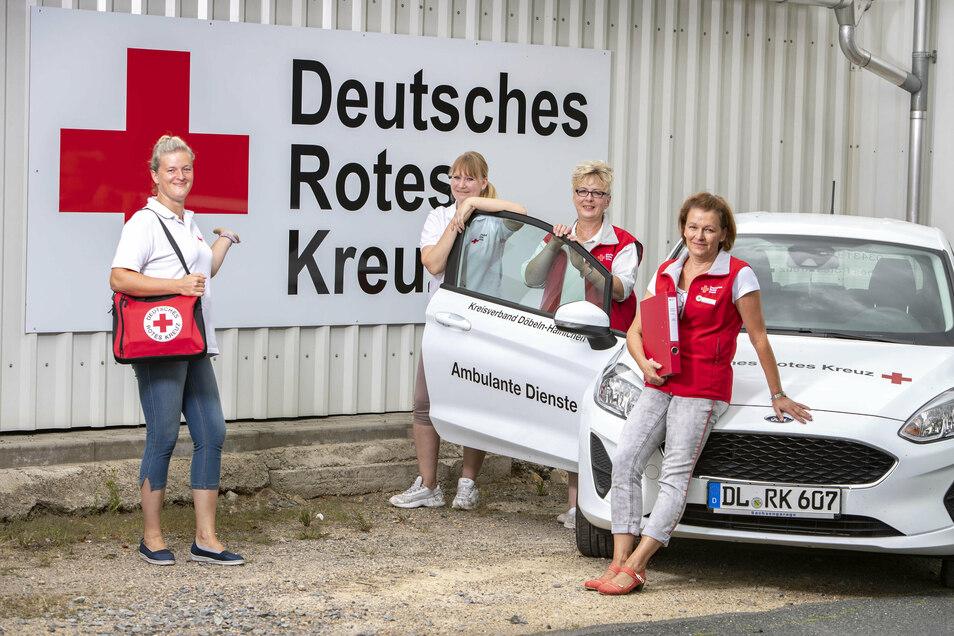 Das ist ja kaum zu übersehen. Anja Pasch, Undine Gruner, Diana Vasic und Andrea Rausch von der Sozialstation des DRK an der Leisniger Straße.