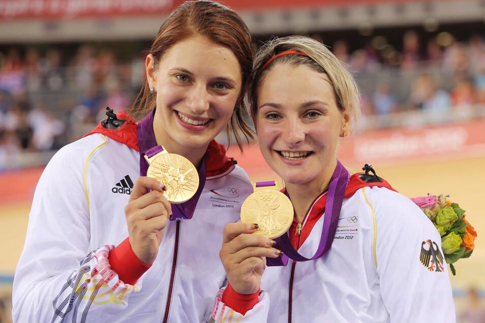 Olympiasieg: Gemeinsam mit Miriam Welte (l) gewinnt Kristina Vogel 2012 Gold in London.