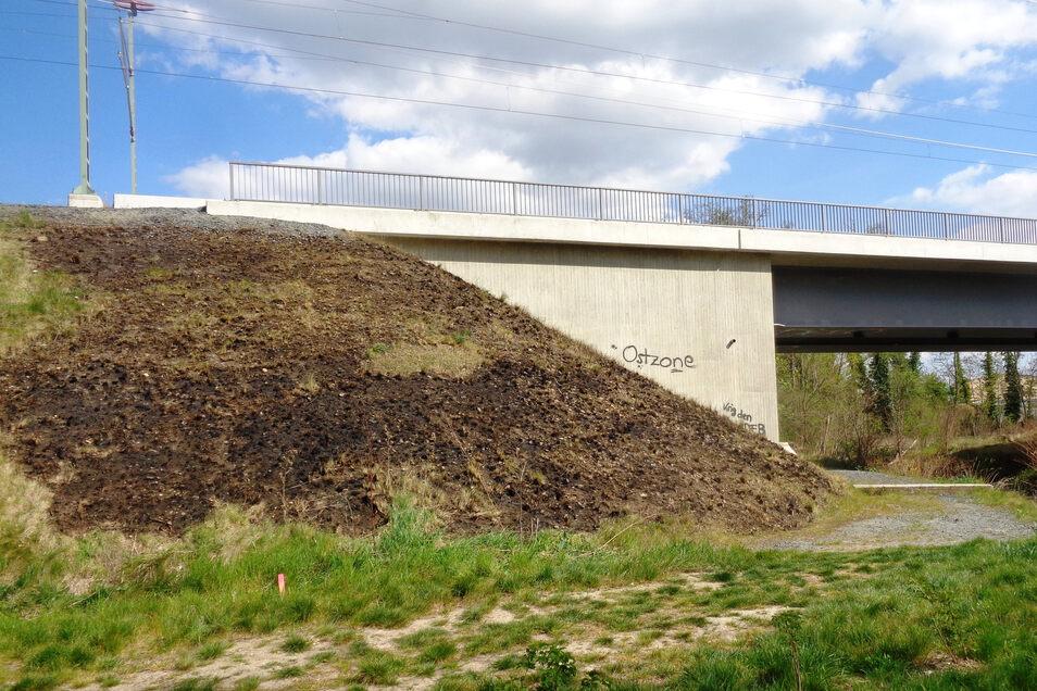 Nur noch eine verbrannte Grünfläche am Bahndamm ist das Resultat des Feuers am Freitag in Großenhain nahe des Bahndamms.