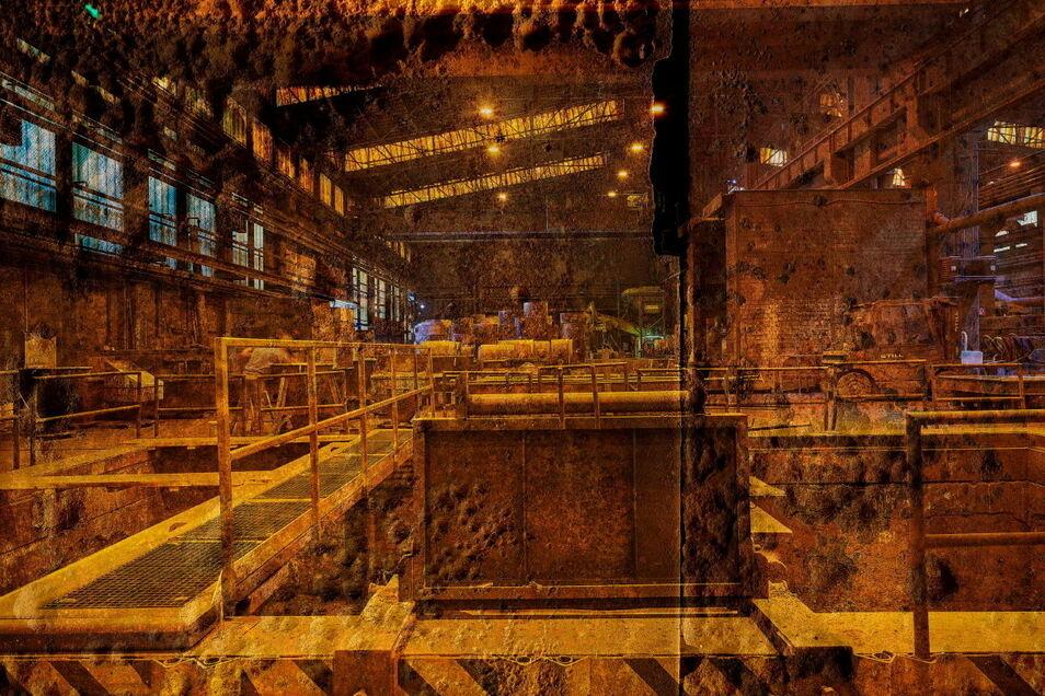Werkhalle in Goldtönen: Diese Aufnahme des Fotografen Michael Lange aus der Walze Coswig ist in der aktuellen Sonderausstellung des Museums Karrasburg zu sehen.