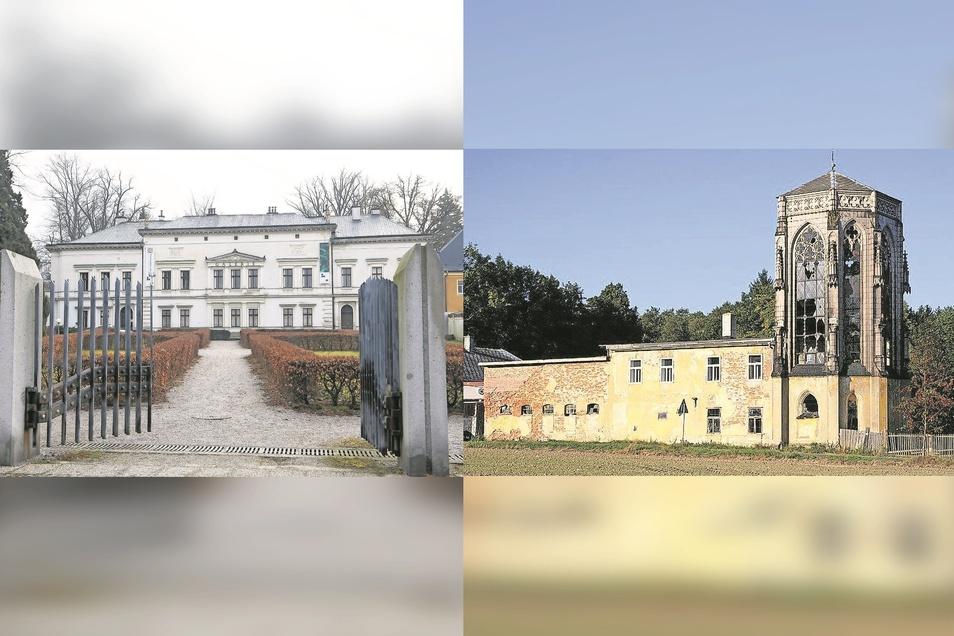 Der Palast in Liberec (links) und kirchenähnliche Bau in Okrouhlá u Nového Boru sind gerettet.
