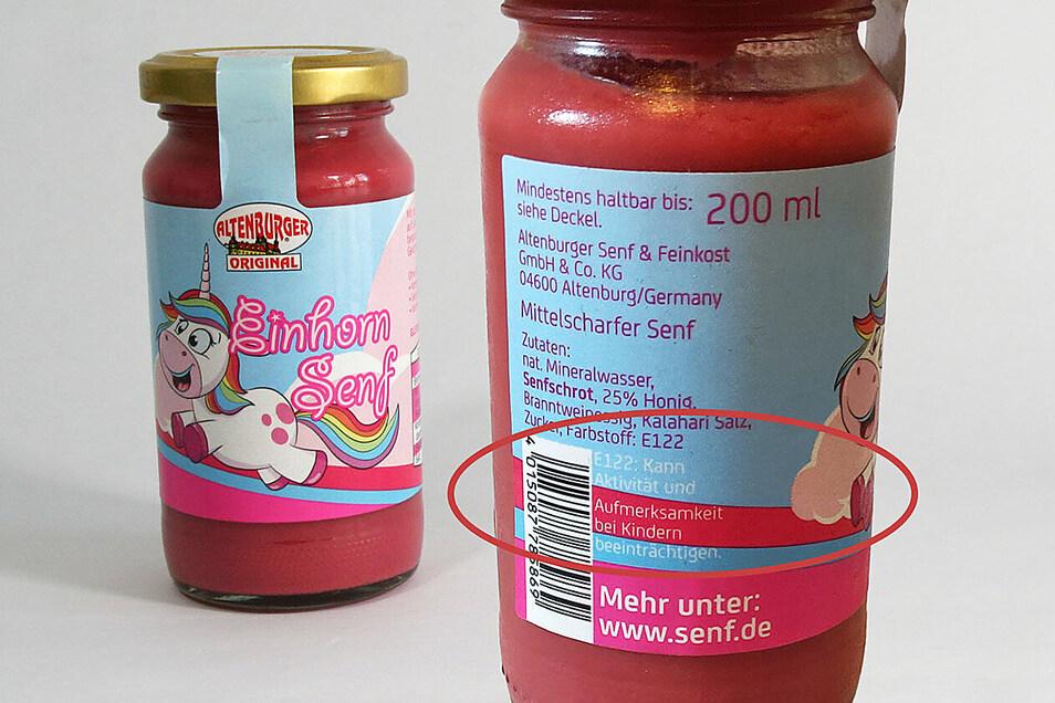 Dieser rosa Senf enthält den Farbstoff E 122. Er steht im Verdacht, die Aktivität und Aufmerksamkeit von Kindern zu beeinträchtigen.