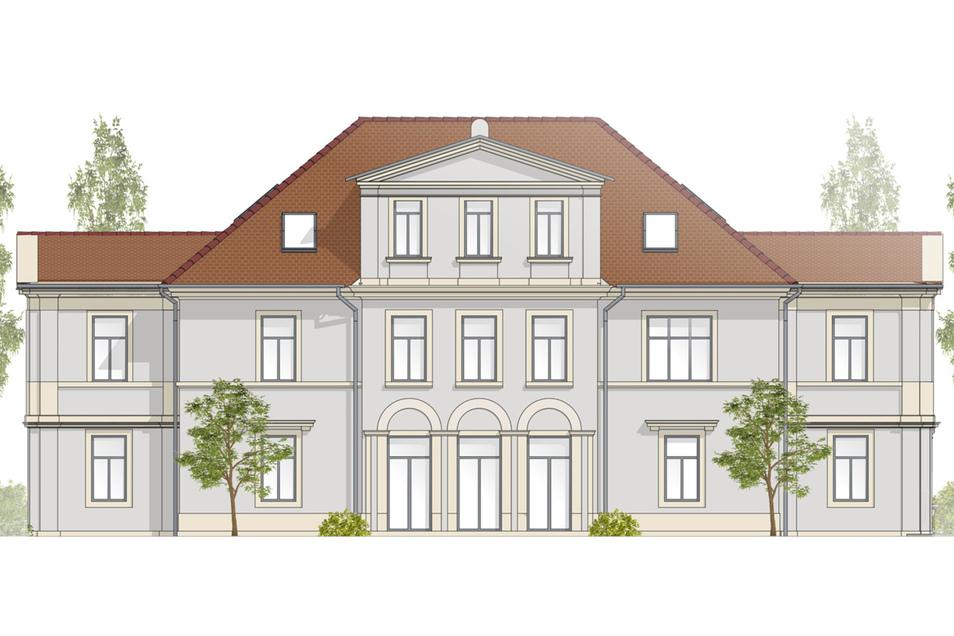 So wird die Villa nach dem Umbau aussehen: Neu dazu kommt der Anbau auf der linken Seite.