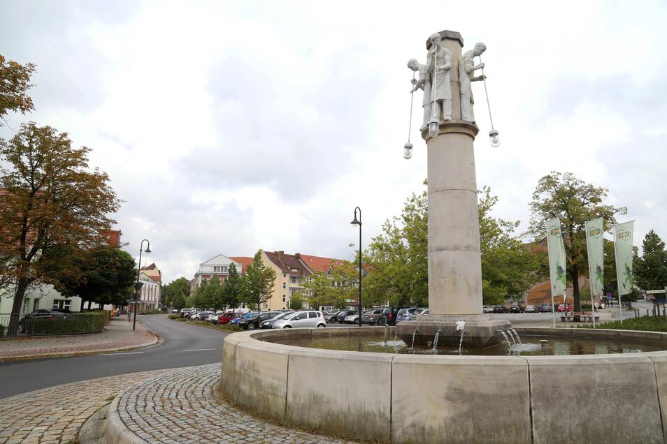Der Glasmacherbrunnen in Weißwasser.