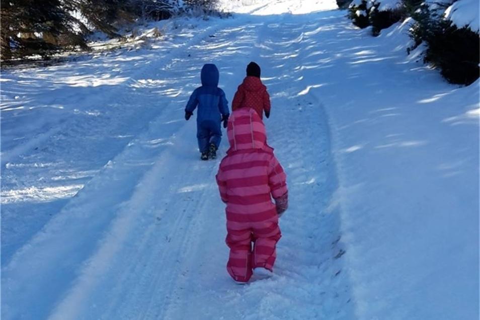 Zwerge im Schnee – ein Bild von Tagesmutter Christine Göschel, Freital.