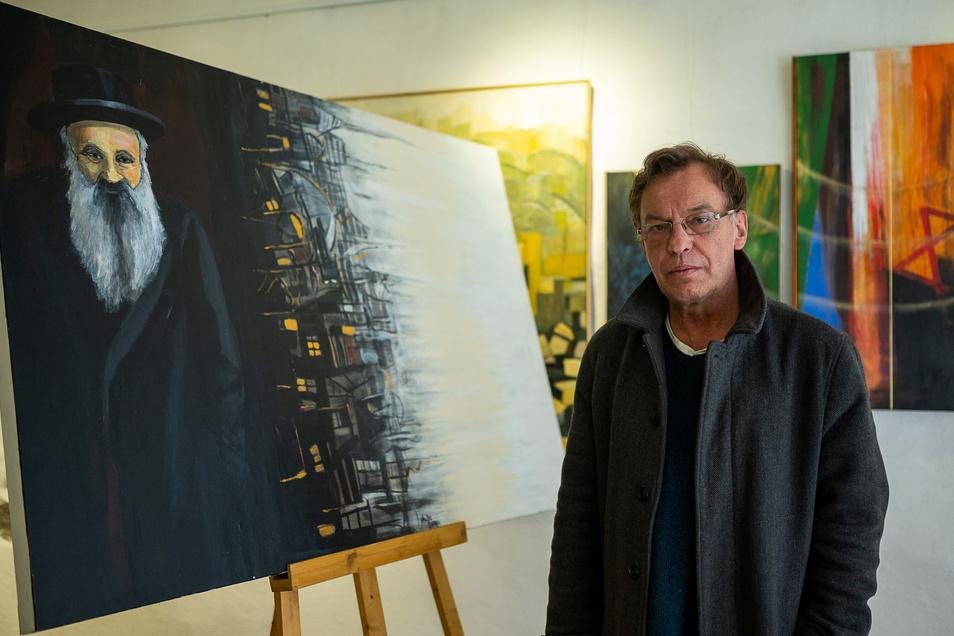 Andreas Neumann-Nochten malte seinen Urgroßvater Itzchak Horowitz, das Bild hängt in seiner Galerie ZwoNeun in der Hotherstraße. Eine Skizze zu diesem Gemälde versteigerte er jetzt.