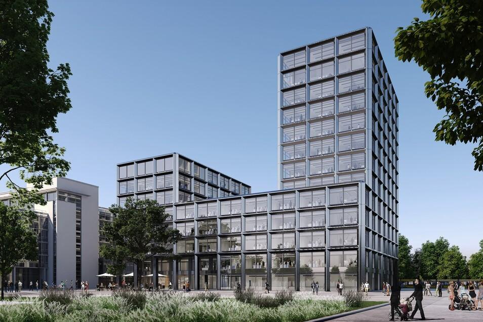 So wird die neue Hauptverwaltung der Kommunalversorger Drewag und Enso am Hauptbahnhof aussehen. Das Hochhaus wird 51 Meter hoch.