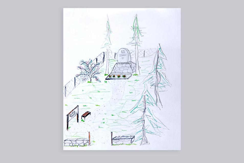 Diese Skizze zeigt, wie sich die Familie Spichale im Thüringer Weg den durch sie gestalteten kleinen Park am Denkmal vorstellt. Das würde den Gedenkstein aufwerten und vor allem wieder sichtbar machen.