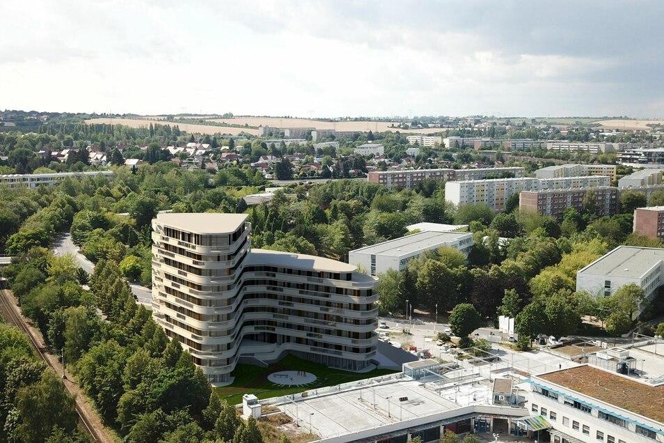 Diese Visualisierung zeigt das zweistufige Hochhaus, das die Quarterback Immobilien AG in Dresden-Gorbitz bauen möchte.