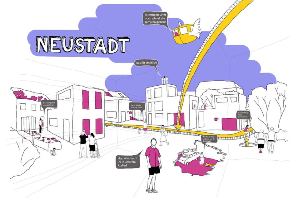 So stellen sich die Studenten Lisa Caroline Semper, René Großerüschkamp und Melanie Leuschner die Neustadt vor.