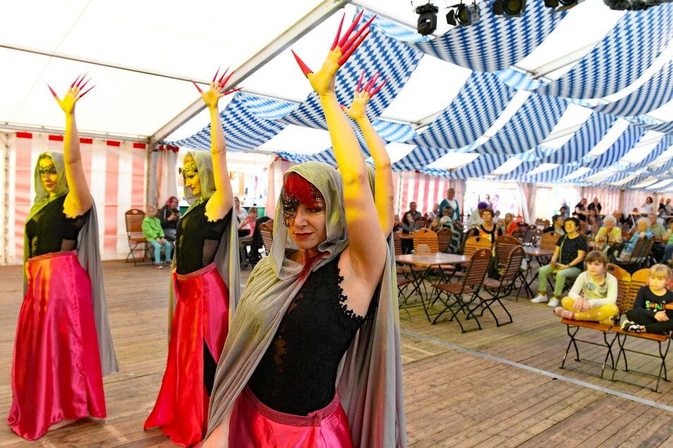 Orientalischen Bauchtanz zeigten die Tänzerinnen der Arabica-Tanzshow um Franziska Franz im Festzelt in Hartha.