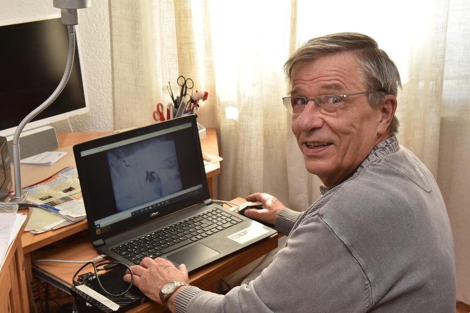 Jürgen Hanisch hat den mittlerweile digitalisierten Film seines Vaters von der Kanu Weltmeisterscchaft im Rabenauer Grund 1961 auf dem Computer.