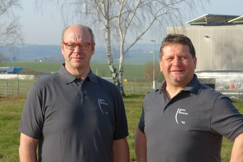 Walter Stuber und Dirk Eckart (v.l.) von der Gemeinhardt Service GmbH in Roßwein.