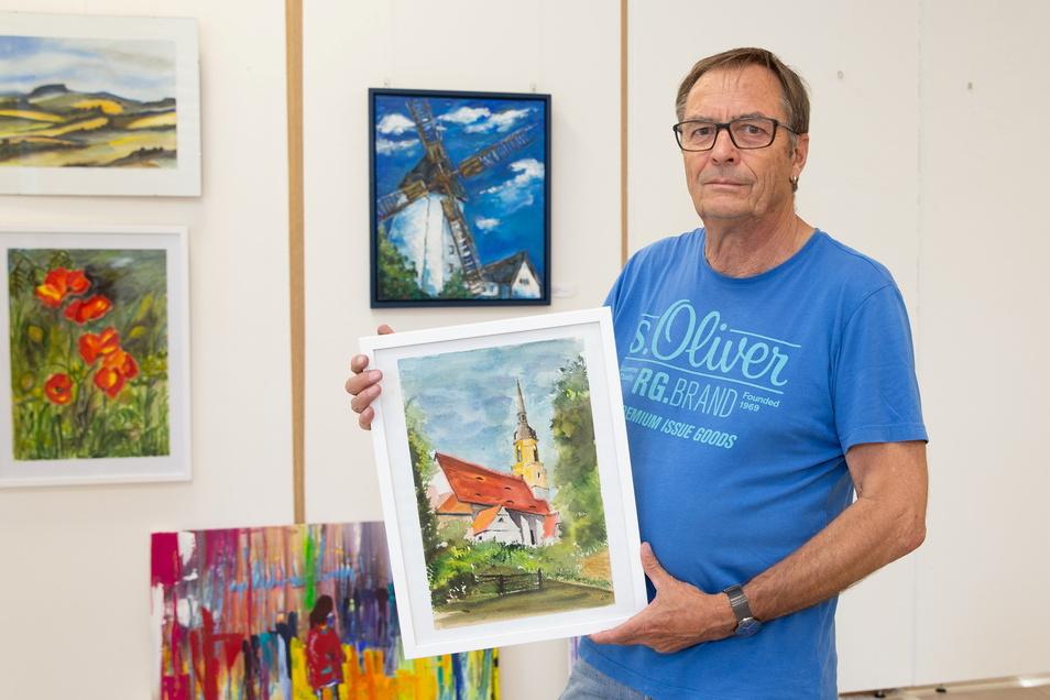 Jörg Arnholdt stellt von Freitag bis Sonntag auch einige seiner Arbeiten in der Pfarrscheune Possendorf aus. Insgesamt sind 200 Kunstwerke von zwölf Hobbymalern zu sehen.